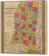 Map Of Mississippi 1850 Wood Print