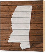 Map Of Mississippi State Outline White Distressed Paint On Reclaimed Wood Planks. Wood Print