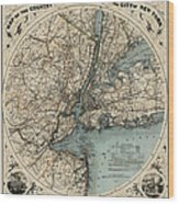 Map Of New York 1891 Wood Print