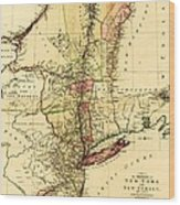 Map Of New York And New Jersey Wood Print