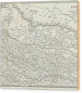 Map Of North India Nepal And Allahabad Wood Print