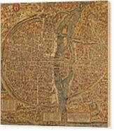 Map Of Paris France Circa 1550 On Worn Canvas Wood Print