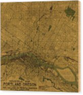 Map Of Portland Oregon City Street Schematic Cartography Circa 1924 On Worn Parchment  Wood Print