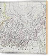 Map Of Russia In Asia And Siberia Wood Print