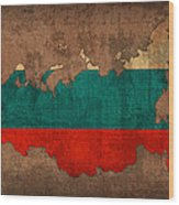 Map Of Russia With Flag Art On Distressed Worn Canvas Wood Print