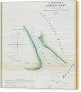 Map Of Sabine Pass  Texas  Louisiana Wood Print