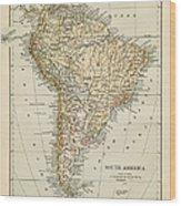 Map Of South America 1875 Wood Print