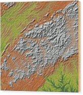Map Of Southern Appalachia Wood Print