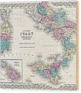 Map Of Southern Italy Sicily Sardinia And Malta Wood Print