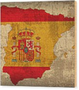 Map Of Spain With Flag Art On Distressed Worn Canvas Wood Print