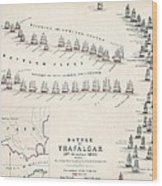 Map Of The Battle Of Trafalgar Wood Print by Alexander Keith Johnson