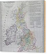 Map Of The British Isles  Wood Print