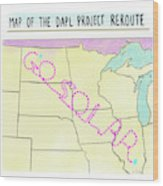 Map Of The Dapl Project Reroute Wood Print