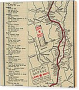 Map Of The Lone Star Route 1922 Wood Print