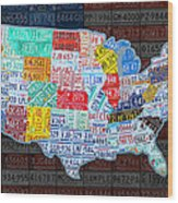 Map Of The United States In Vintage License Plates On American Flag Wood Print by Design Turnpike