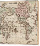 Map Of The World 1855 Wood Print