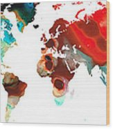 Map Of The World 5 -colorful Abstract Art Wood Print