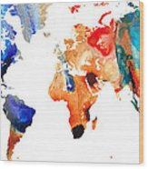 Map Of The World 8 -colorful Abstract Art Wood Print