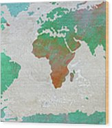 Map Of The World - Colors Of Earth And Water Wood Print