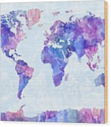 Map Of The World Map Watercolor Painting Wood Print by Michael Tompsett
