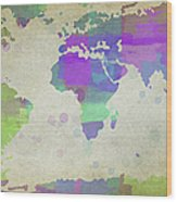 Map Of The World - Plaid Watercolor Splatter Wood Print