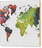 Map Of The World Red Green Wood Print
