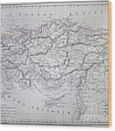Map Of Turkey Or Asia Minor In Ancient Times Wood Print