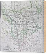 Map Of Turkey Or The Ottoman Empire In Europe Wood Print