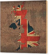 Map Of United Kingdom With Flag Art On Distressed Worn Canvas Wood Print