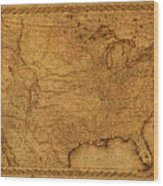 Map Of United States Of America Vintage Schematic Cartography Circa 1855 On Worn Parchment  Wood Print