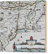 Map Of Virginia - 1665 Wood Print