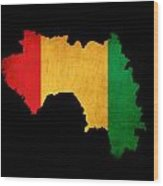 Map Outline Of Guinea With Flag Grunge Paper Effect Wood Print