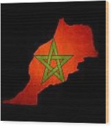 Map Outline Of Morocco With Flag Grunge Paper Effect Wood Print