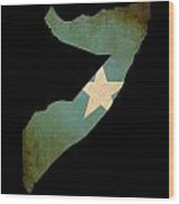 Map Outline Of Somalia With Flag Grunge Paper Effect Wood Print