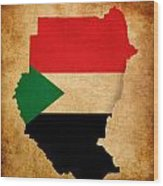 Map Outline Of Sudan With Flag Grunge Paper Effect Wood Print