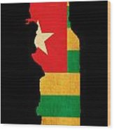 Map Outline Of Togo With Flag Grunge Paper Effect Wood Print
