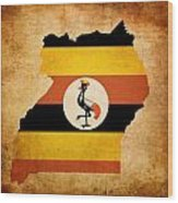 Map Outline Of Uganda With Flag Grunge Paper Effect Wood Print