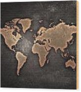 Map  The Continents  Grunge Wood Print
