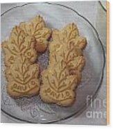 Maple Leaf Cookies And Milk - Food Art - Kitchen Wood Print