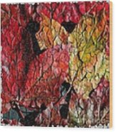 Maple Leaves Cracked Square Wood Print