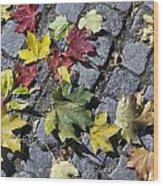 Maple Leaves On Stones Wood Print