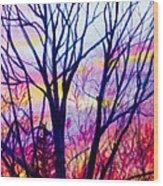 Maple Tree Sunset Wood Print