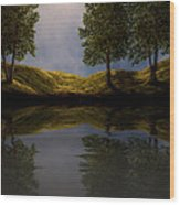 Maples In Moonlight Reflections Wood Print