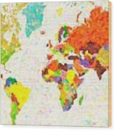 maps pointilism World Map with leaves Wood Print