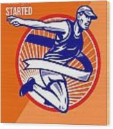 Marathon Finish What You Started Retro Poster Wood Print by Aloysius Patrimonio