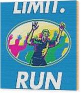 Marathon Runner Push Limits Poster Wood Print