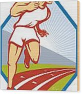 Marathon Runner Running Race Track Retro Wood Print