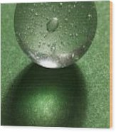 Marble Clear On Green 1 Wood Print