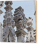 Marble Facade With Tower Duomo Di Milano Italia Wood Print