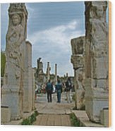 Marble Way From Theater To Central Ephesus-turkey Wood Print